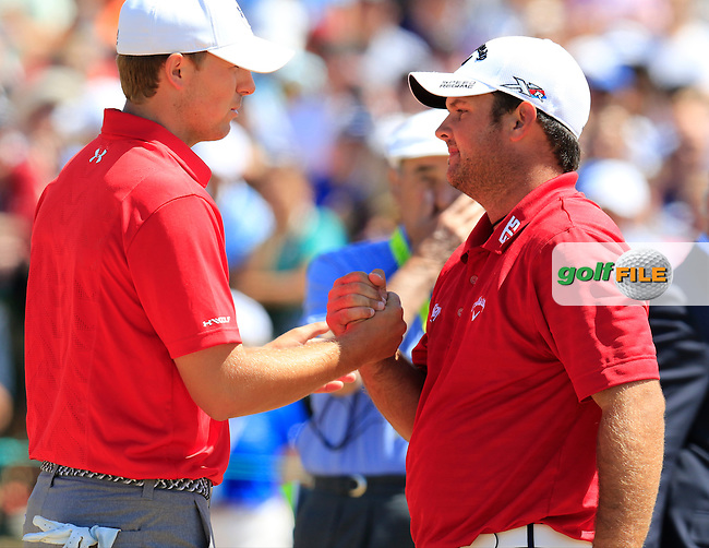 Jordan Speith and Patrick Reed (USA) on the 1st tee to start his match during Saturday's Round 3 of the 2015 U.S. Open 115th National Championship held at Chambers Bay, Seattle, Washington, USA. 6/20/2015.<br /> Picture: Golffile | Eoin Clarke<br /> <br /> <br /> <br /> <br /> All photo usage must carry mandatory copyright credit (&copy; Golffile | Eoin Clarke)