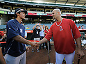 (L-R) Gosuke Kato, Albert Pujols (Angels),<br /> JUNE 14, 2013 - MLB :<br /> Albert Pujols of the Los Angeles Angels shakes hands with New York Yankees second round draft pick Gosuke Katoh during batting practice before the Major League Baseball game at Anaheim Stadium in Anaheim, California, United States. (Photo by AFLO)