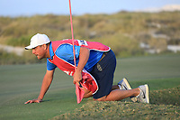Sam Walker (ENG) caddying for Amy Boulden (WAL) during the first round of the Fatima Bint Mubarak Ladies Open played at Saadiyat Beach Golf Club, Abu Dhabi, UAE. 10/01/2019<br /> Picture: Golffile | Phil Inglis<br /> <br /> All photo usage must carry mandatory copyright credit (© Golffile | Phil Inglis)