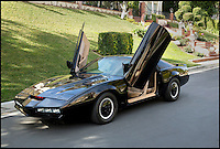 BNPS.co.uk (01202 558833)<br /> Pic: Juliens/BNPS<br /> <br /> ***Please use full byline***<br /> <br /> The Hoff's own personal Kitt. <br /> <br /> The futuristic talking sportscar driven by TV legend David Hasselhoff in cult show Knight Rider is among a &pound;100,000 archive of the star's possessions up for sale.<br /> <br /> Hasselhoff has also put his iconic red lifeguard jacket from hit programme Baywatch on the market alongside a bizarre, oversized statue of himself.<br /> <br /> The actor, known as The Hoff, shot to fame in 1982 in Knight Rider as crime fighter Michael Knight.<br /> <br /> Knight's partner was an artificially intelligent supercar called Knight Industries Two Thousand - or KITT for short.