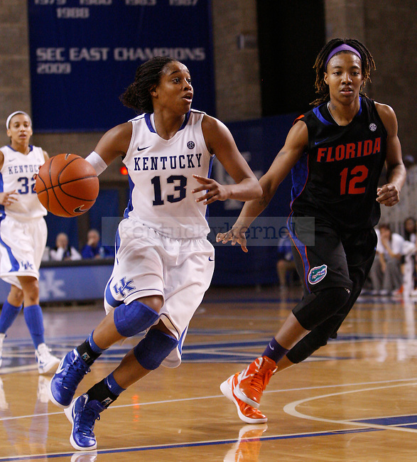 UK guard Bria Goss drives the ball during the second half of the UK Women's basketball game against Florida on 1/22/12 at Memorial Coliseum in Lexington, Ky. Photo by Quianna Lige | Staff