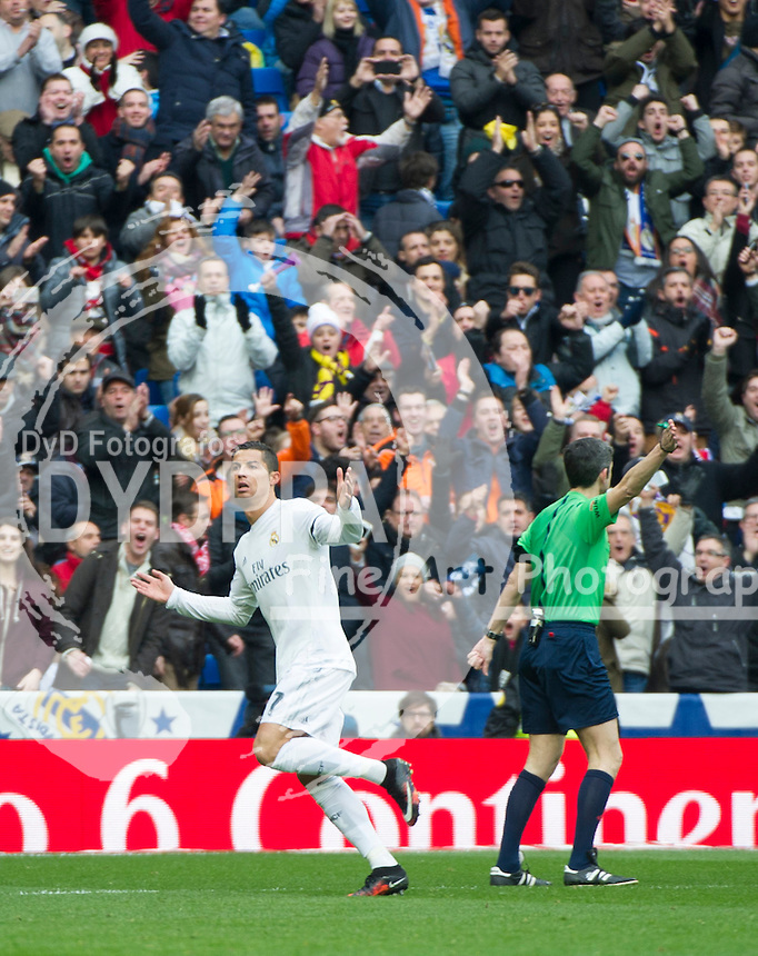 Real Madrid's Portuguese forward Cristiano Ronaldo celebrates after scoring