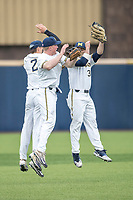 Michigan Wolverines outfielders Jonathan Engelmann (2), Miles Lewis (3) and Joe Pace (32) celebrate defeating the Maryland Terrapins on April 13, 2018 in a Big Ten NCAA baseball game at Ray Fisher Stadium in Ann Arbor, Michigan. Michigan defeated Maryland 10-4. (Andrew Woolley/Four Seam Images)