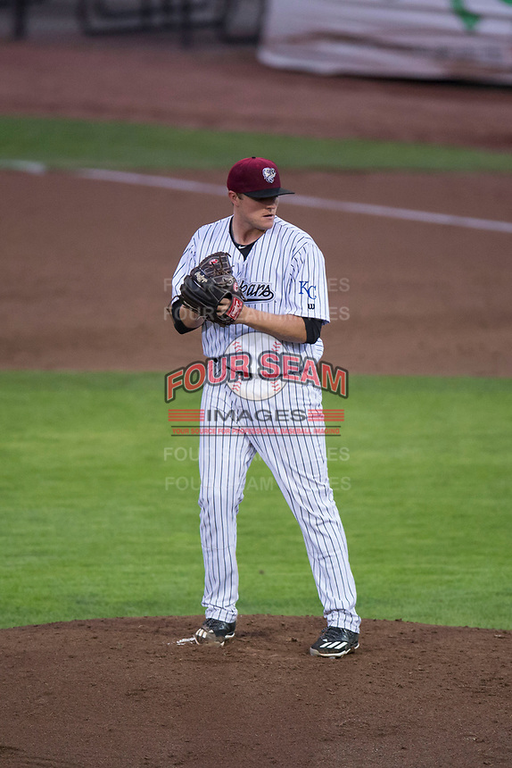Idaho Falls Chukars starting pitcher C.J. Eldred (33) prepares to deliver a pitch during a Pioneer League game against the Billings Mustangs at Melaleuca Field on August 22, 2018 in Idaho Falls, Idaho. The Idaho Falls Chukars defeated the Billings Mustangs by a score of 5-3. (Zachary Lucy/Four Seam Images)