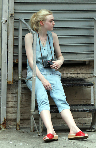 NEW YORK CITY- July 03, 2012: Dakota Fanning  shooting on location for the new film, Very Good Girls. © RW/MediaPunch Inc.