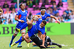 Alamanda Motuga of Samoa (C) is tackled by Jona Nareki of New Zealand (R) during the HSBC Hong Kong Sevens 2018 match between New Zealand and Samoa on April 7, 2018 in Hong Kong, Hong Kong. Photo by Marcio Rodrigo Machado / Power Sport Images