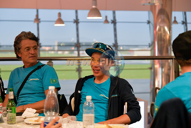 Riders and staff including Miguel Angel Lopez (COL) Astana Pro Team Maglia Bianca at Aeroporto di Caselle Turin to transfer to Rome after Stage 20 of the 2018 Giro d'Italia,  Italy. 26th May 2018.<br /> Picture: LaPresse/Marco Alpozzi | Cyclefile<br /> <br /> <br /> All photos usage must carry mandatory copyright credit (© Cyclefile | LaPresse/Marco Alpozzi)