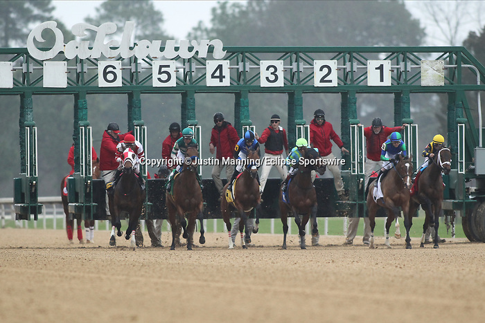 February 17, 2020: The start of the Bayakoa Stakes at Oaklawn Racing Casino Resort in Hot Springs, Arkansas. ©Justin Manning/Eclipse Sportswire/CSM