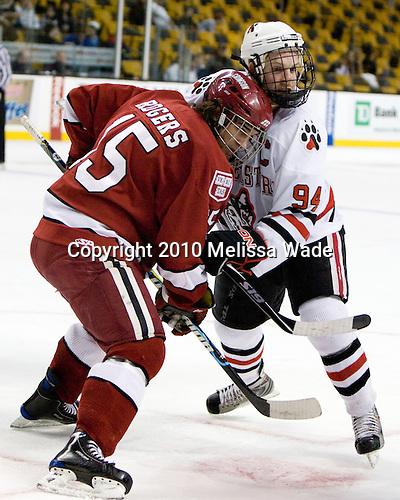 Doug Rogers (Harvard - 15), Tyler McNeely (NU - 94) - The Northeastern University Huskies defeated the Harvard University Crimson 4-1 (EN) on Monday, February 8, 2010, at the TD Garden in Boston, Massachusetts, in the 2010 Beanpot consolation game.