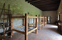 Bunk beds inside the military barracks at the Presidio la Bahia, or Presidio Nuestra Senora de Loreto de la Bahia, a fort built 1747-49 by the Spanish army to protect the nearby Spanish missions, near Goliad, Texas, USA. During the Texas Revolution, the Battle of Goliad, October 1835, and the Goliad Massacre, March 1836, took place here. Picture by Manuel Cohen