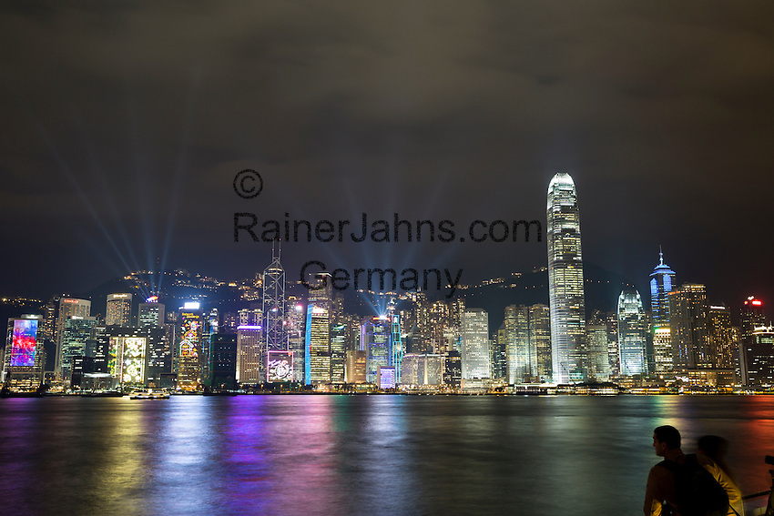 People's Republic of China, Hong Kong: A Symphony of Lights on Victoria Harbour   Volksrepublik China, Hongkong: Victoria Harbour und die naechtliche Skyline Hongkongs