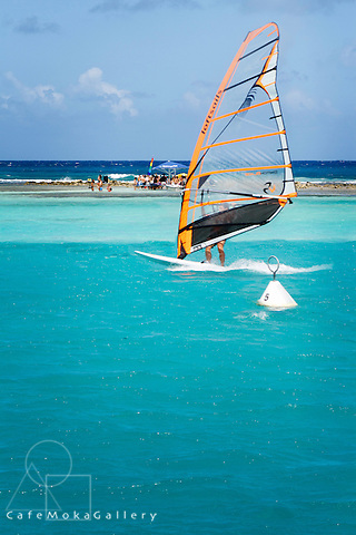 Water sports on the lagoon at St Francois - windsurfing - party on the reef in the distance