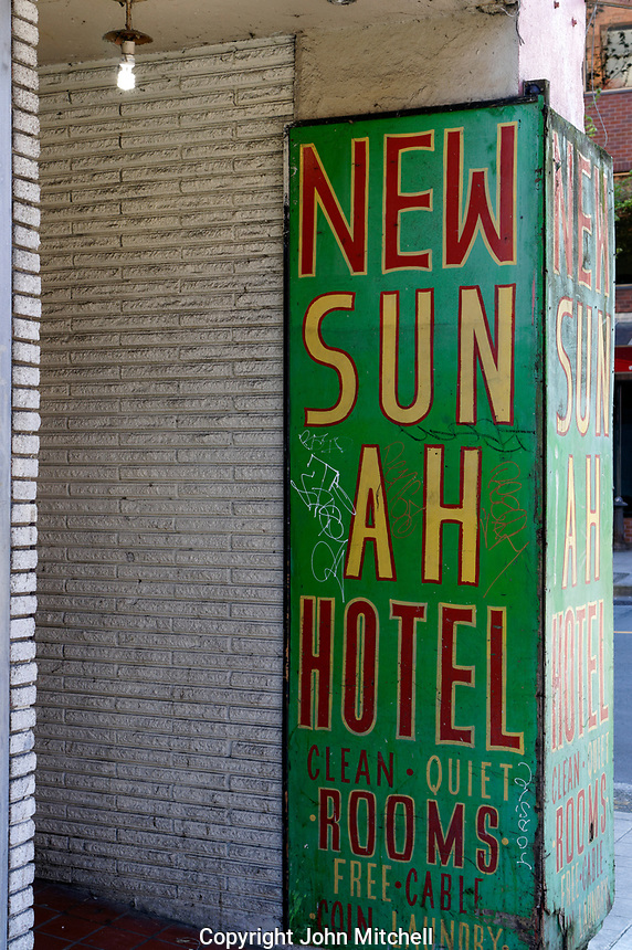 New Sun Ah Hotel sign on Pender Street  in Chinatown, Vancouver, British Columbia, Canada