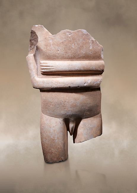 Ancient Greek Cycladic statue torso fragment: Canonical spedos variety , Early Cycladic period II, Syros phase 2800-2300 BC. Cycladic Museum of Art, Athens. <br /> <br /> Arrtibuted to 'Goulandris Master'.  A very rare unique example of a canonical Spedos variety Cycladic statue of a male. The genetals are carved in the round in a naturalistic manner and unusually the forearms dont touch as in the female figures. This is a totaly unique example of a Cycladic canonical male figure of monumental dimensions.