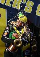 Feb 28, 2016; Chandler, AZ, USA; NHRA top fuel driver Leah Pritchett is doused with Mello Yello soda as she celebrates after winning the Carquest Nationals at Wild Horse Pass Motorsports Park. Mandatory Credit: Mark J. Rebilas-USA TODAY Sports