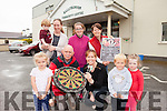 Four legends of darts will make their way to Ballybunion on August 7th for a fundraiser for the Ballybunion Community Centre. Pictured were: TJ McCarron from Ballybunion Sea and Cliff Rescue with Grainne Toomey from Ballybunion Community Childcare Centre  with Abaigéal Weadick, Aidan Spillane and Evie O'Connor. Back l-r were: James and Sorcha Keane, Joanne Blake and Patsy Gleeson.