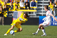 27 MARCH 2010:  Frankie Hejduk of the Columbus Crew(2) and Sam Cronin of Toronto FC (2) during the Toronto FC at Columbus Crew MLS game in Columbus, Ohio on March 27, 2010. Crew defeated Toronto FC 2-0.