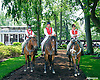 Outriders in the paddock at Delaware Park on 6/8/15