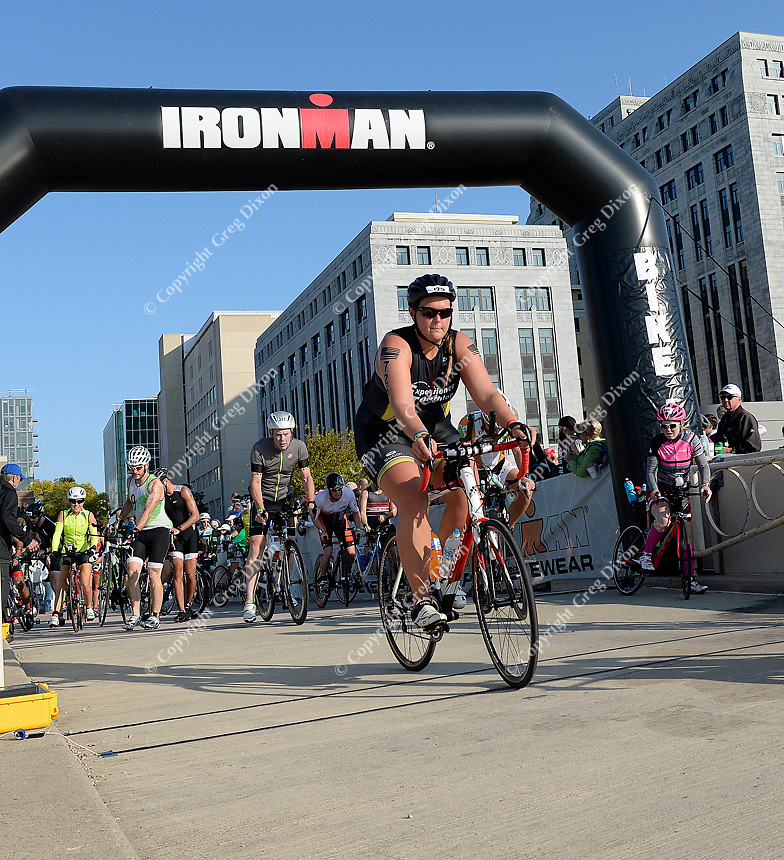 Athletes begin the biking race from the top of Monona Terrace during the 2017 IRONMAN Wisconsin on Sunday, September 10 in Madison