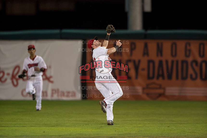 Orem Owlz second baseman Justin Jones (33) tracks a pop up during a Pioneer League game against the Ogden Raptors at Home of the OWLZ on August 24, 2018 in Orem, Utah. The Ogden Raptors defeated the Orem Owlz by a score of 13-5. (Zachary Lucy/Four Seam Images)
