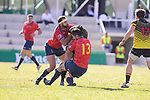 Spain's Iñaki Villanueva and Fabien Perrin during Rugby Europe Championship 2017 match between Spain and Belgium in Madrid. March 18, 2017. (ALTERPHOTOS/Borja B.Hojas)