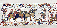 Bayeux Tapestry  Scene 14 - Harold arrives at the gates of Duke Williams castle,