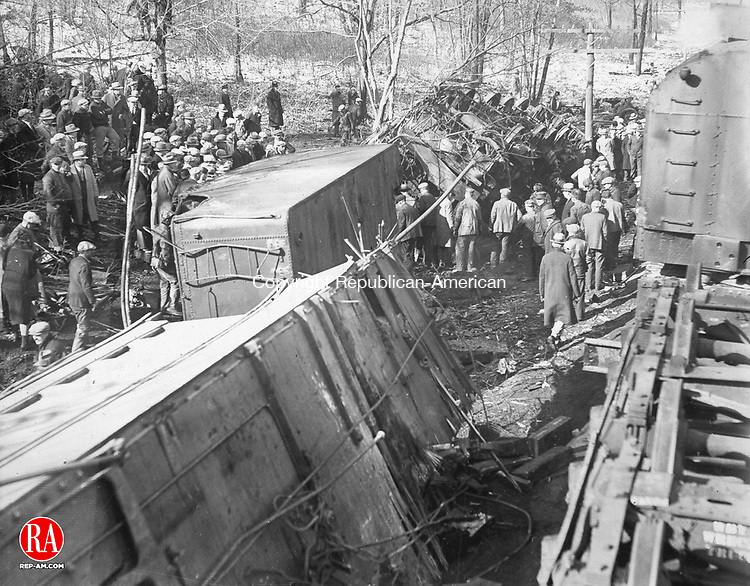 Hundreds of spectators gathered at the scene of the Waterbury-Winsted train wreck on January 23, 1929.