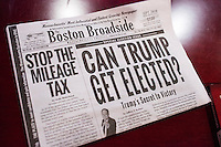 """A copy of conservative newspaper The Boston Broadside with a headline reading """"Can Trump Get Elected?"""" lays on a desk in John Paul Moran's live/work studio in Boston, Massachusetts. Moran is a Trump supporter who will be traveling to Washington DC to attend the inauguration and associated events as Donald Trump is sworn in as president of the United States. Moran volunteered with the Trump campaign in Massachusetts and helped organize rallies around his """"#HerLiesMatter"""" campaign."""