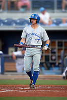Dunedin Blue Jays third baseman Nash Knight (35) during a game against the Charlotte Stone Crabs on June 5, 2018 at Charlotte Sports Park in Port Charlotte, Florida.  Dunedin defeated Charlotte 9-5.  (Mike Janes/Four Seam Images)