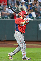 Cody Ramer (3) of the Orem Owlz at bat against the Ogden Raptors in Pioneer League action at Lindquist Field on September 9, 2016 in Ogden, Utah. This was Game 1 of the Southern Division playoff. Orem defeated Ogden 6-5. (Stephen Smith/Four Seam Images)