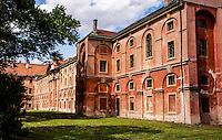 View to an old abandoned former Military Hospital. Shows part of one of the facades in decay.