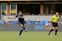 SAN JOSE, CA - JULY 06: Cristian Espinoza #10 during a Major League Soccer (MLS) match between the San Jose Earthquakes and Real Salt Lake on July 06, 2019 at Avaya Stadium in San Jose, California.