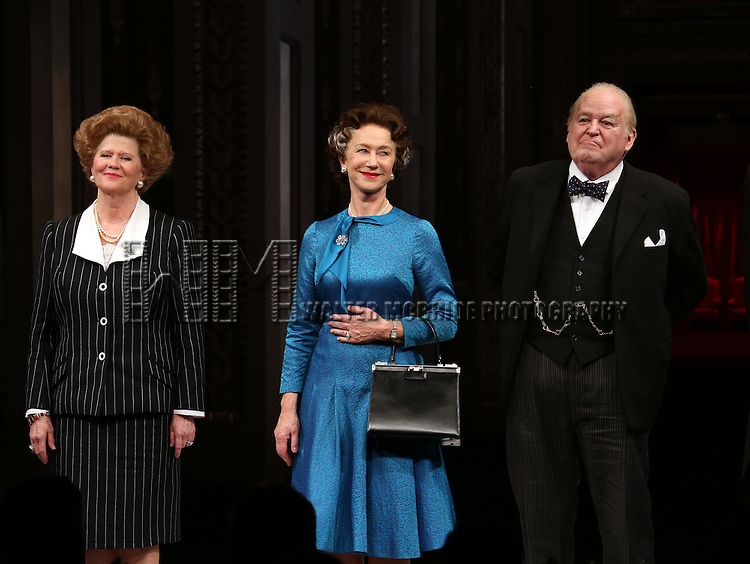 Judith Ivey, Helen Mirren and Dakin Matthews takes a bow during curtain call for the Broadway Opening night of 'The Audience' at the Gerald Schoenfeld Theatre on March 8, 2015 in New York City.