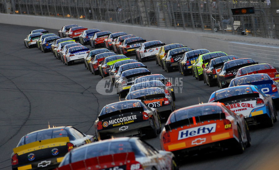 Feb 24, 2007; Fontana, CA, USA; The field of Nascar Busch Series drivers during the Stater Bros 300 at California Speedway. Mandatory Credit: Mark J. Rebilas