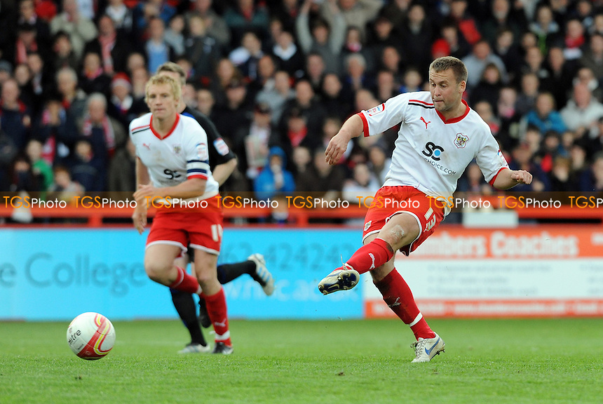 Joel Byrom of Stevenage scores from the penalty spot to make it 2-0 - Stevenage vs Bury - nPower League One Football at the Lamex Stadium, Broadhall Way - 05/05/12 - MANDATORY CREDIT: Anne-Marie Sanderson/TGSPHOTO - Self billing applies where appropriate - 0845 094 6026 - contact@tgsphoto.co.uk - NO UNPAID USE.