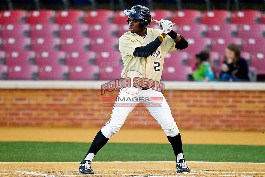 Kevin Jordan #21 of the Wake Forest Demon Deacons at bat against the Georgetown Hoyas at Wake Forest Baseball Park on February 26, 2012 in Winston-Salem, North Carolina.  The Demon Deacons defeated the Hoyas 5-2.  (Brian Westerholt / Four Seam Images)