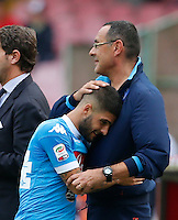 Napoli's coach  Maurizio Sarri hugs  Lorenzo Insigne     during the Italian Serie A soccer match between SSC Napoli and AC Fiorentina  at San Paolo stadium in Naples,October 18, 2015