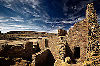 A detail view of one of the walls at Pueblo Bonito in Chaco Canyon National Historical Park in northwest New Mexico.