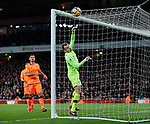 Liverpool's Simon Mignolet looks on nervously after he pushes the ball onto the bar during the premier league match at the Emirates Stadium, London. Picture date 22nd December 2017. Picture credit should read: David Klein/Sportimage
