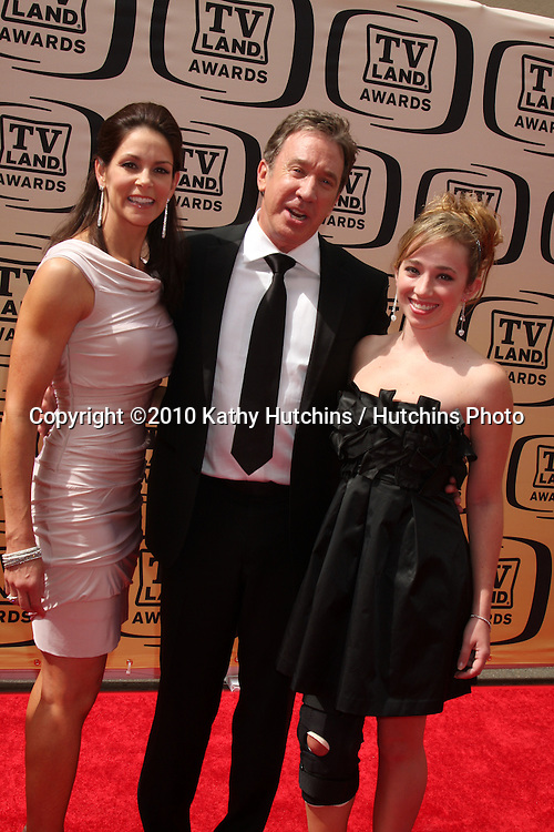 Tim Allen, wife, older daughter.arrives at the 2010 TV Land Awards.Sony Studios.Culver City, CA.April 17, 2010.©2010 Kathy Hutchins / Hutchins Photo...