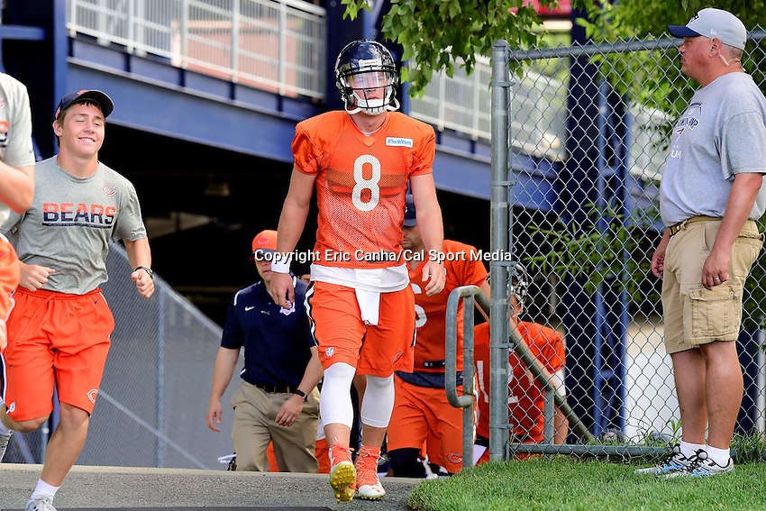 Wednesday, August 17, 2016: Chicago Bears quarterback Connor Shaw (8) walks to the practice field a joint training camp session between the Chicago Bears and the New England Patriots held at Gillette Stadium in Foxborough Massachusetts. Eric Canha/CSM