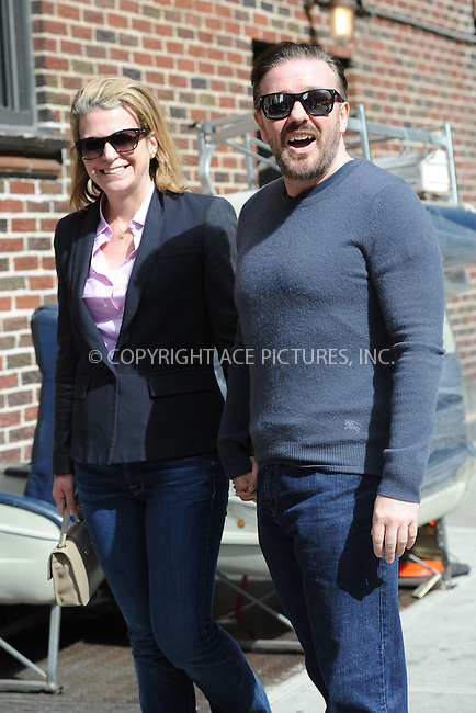 WWW.ACEPIXS.COM . . . . . .April 9, 2012...New York City....Ricky Gervais and his wife Jane Fallon arriving for an appearance on the Late Show with David Letterman on April 9, 2012  in New York City....Please byline: KRISTIN CALLAHAN - ACEPIXS.COM.. . . . . . ..Ace Pictures, Inc: ..tel: (212) 243 8787 or (646) 769 0430..e-mail: info@acepixs.com..web: http://www.acepixs.com .