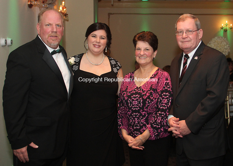 Wolcott, CT-031514MK25 (from left) Wolcott mayor Thomas Dunn and his wife lisa with Pat and Art Ward, former mayor for Bristol gathered at Wolcott's mayor Thomas Dunn's annual town celebration at Mahan's Lakeview on Saturday night.  Mayor Dunn was re-elected to become Wolcott's longest serving mayor. Michael Kabelka / Republican-American