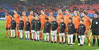 20200304 Valenciennes , France : Dutch team with Dutch goalkeeper Loes Geurts (23)   Dutch Aniek Nouwen (2)   Dutch Stefanie van der Gragt (3)   Dutch Sherida Spitse (8)   Dutch Vivianne Miedema (9)   Dutch Danielle van de Donk (10)   Dutch Lieke Martens (11)   Dutch Jackie Groenen (14)   Dutch Shanice van de Sanden (7)   Dutch Dominique Bloodworth (20)   Dutch Lineth Beerensteyn (21)    pictured during the female football game between the national teams of The Netherlands and Brasil on the first matchday of the Tournoi de France 2020 , a prestigious friendly womensoccer tournament in Northern France , on wednesday 4 th March 2020 in the Stade du Hainaut of Valenciennes , France . PHOTO SPORTPIX.BE | DIRK VUYLSTEKE