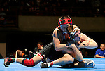 12 MAR 2011: Minga Batsukh of St. Johns and Tony Valek of Augsburg battle for the 149 lbs championship during the Division III Men's Wrestling Championship held at the La Crosse Center in La Crosse Wisconsin. Batsukh defeated Valek 7-4 to claim the national title. Stephen Nowland/NCAA Photos