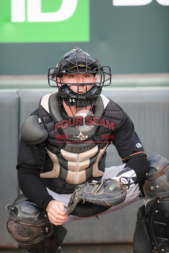 Catcher Ben Breazeale (12) of the Delmarva Shorebirds warms up before a game against the Greenville Drive on Friday, August 2, 2019, at Fluor Field at the West End in Greenville, South Carolina. The game was suspended in the second inning and will not be made up. (Tom Priddy/Four Seam Images)