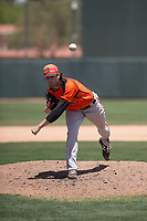 San Francisco Giants Orange relief pitcher Alex Bostic (81) follows through on his delivery during an Extended Spring Training game against the Oakland Athletics at the Lew Wolff Training Complex on May 29, 2018 in Mesa, Arizona. (Zachary Lucy/Four Seam Images)