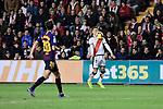 Rayo Vallecano's Alex Moreno and FC Barcelona's Sergi Roberto during La Liga match between Rayo Vallecano and FC Barcelona at Vallecas Stadium in Madrid, Spain. November 03, 2018. (ALTERPHOTOS/A. Perez Meca)
