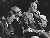 "United States Senator George McGovern (Democrat of South Dakota), left, U.S. Senator John C. Stennis (Democrat of Mississippi), center, and U.S. Senator Hubert H. Humphrey (Democrat of Minnesota), right, listen as U.S. President Gerald R. Ford delivers his economic message to a Joint Session of Congress on October 9, 1974.  Ford recommended a 5% tax surcharge on incomes over $15,000.00 be enacted. .Credit: Benjamin E. ""Gene"" Forte  / CNP"