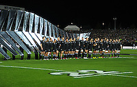 The All Blacks line up for the national anthem during the Steinlager Series international rugby test match between All Blacks and Ireland at Waikato Stadium, Hamilton, New Zealand on Saturday, 23 June 2012. Photo: Dave Lintott / lintottphoto.co.nz